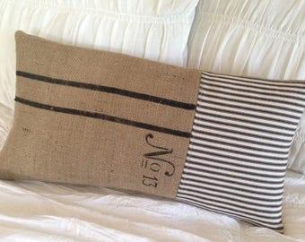 French Farmhouse Grainsack Pillow Burlap Pillow with Black and White Ticking Cottage Decor
