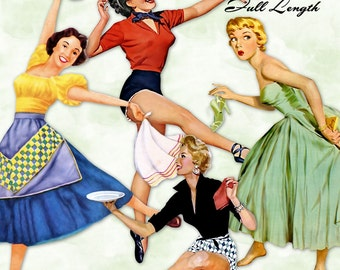 Retro Housewives Full Length    50s Vintage Mid Century Modern Women   Clipart Instant Download