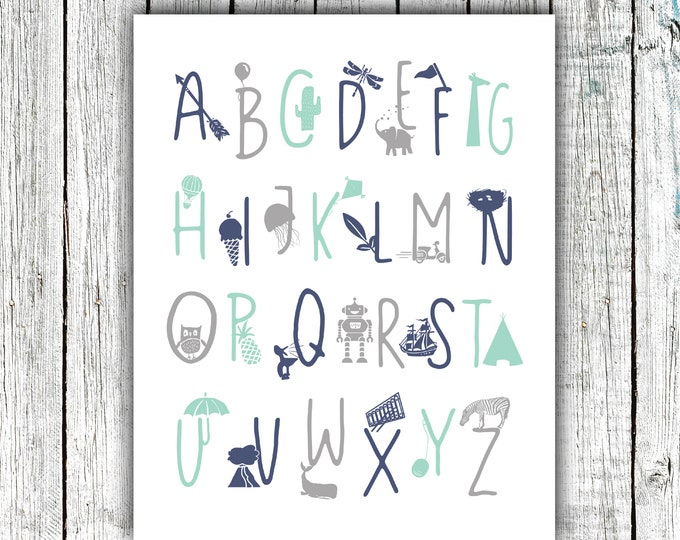 Featured listing image: Boy's Alphabet Poster, Alphabet Print, Nursery Printable, Mint Navy and Gray, #672
