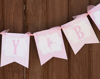 Ballerina Birthday Banner - Ballet Birthday - Girl Birthday Decorations - Personalized with Name & Age