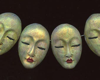 """4  One of a Kind  Abstract  1  3/8 """"  Polymer Asian  Face  Beads Side  Drilled AASB 4"""