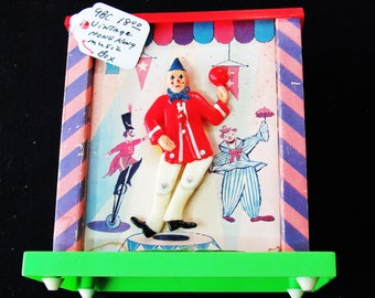 Vintage Music Box with Dancing Clown - Made in Hong Kong