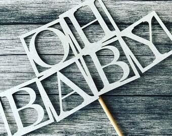 Oh Baby Cake Topper, Baby Blocks Cake Topper, Baby Shower, Cake topper