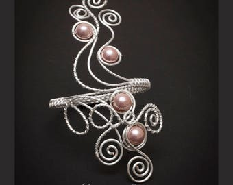 Silver arm cuff ,Silver swirl design  Upper Arm bracelet,Hazy voilet shell pearl silver plated copper wire arm cuff ,MADE TO ORDER-