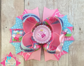 Peppa the Pig Bow-Peppa the Pig Birthday Bow-Pink Bow-Peppa Pig Party