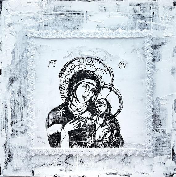 Blessed Mother and Jesus - original artwork