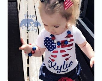 Baby Girl's 4th Of July Onesie, Fourth Of July Onesie, Personalized Bow Fourth Of July Outfit, 4th Of July Outfit, Toddler 4th Of July Shirt