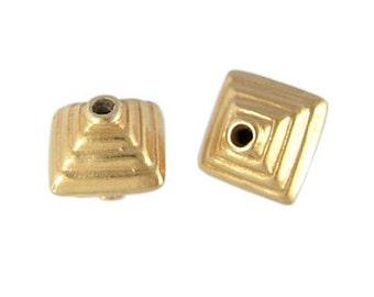Handmade 24 K Gold Vermeil Bali Stamped Bead - 2 pcs.