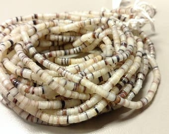 White with Brown Shell Heishi Beads 3