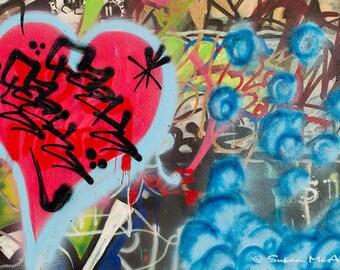 Graffiti Photograph, Urban Art, Musical Heart Photo, Wall Art, Home Decor, Street Art Decor, Modern, Edgy Art, Red, Blue, Brown, Archival