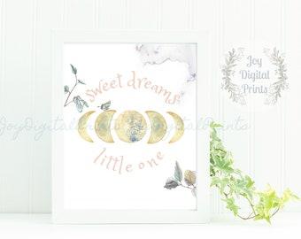 Watercolor Moon Phase, Girl's Nursery Print, Digital Art Print, Boho Print, Realistic Watercolor, Sweet Dreams Little One, Blush, Pink