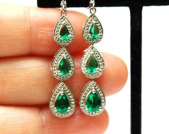 Emerald Earrings, Birthstone Earrings, Long Teardrop Earrings, Silver Emerald CZ Earrings, Sterling Silver Earrings, gifts for her