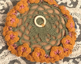 Vintage Powder Puff w/ Crochet Flower Top 1940's era
