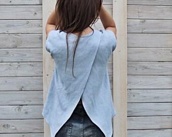 Linen summer blouse / Flax top for woman / Modern summer flax cloth