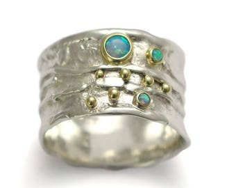 Rustic silver Opal Ring, Wide Blue stones Band, October birthstone ring, Two tones band, Mixed metals band stones band, everyday ring, Sale