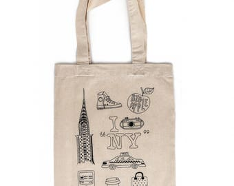 Tote Bag - I love New York Tote Bag - Fashion Design - Girls Fashion Bag - Fashion Design - Fashion Party - New York Icons - Girls Gift