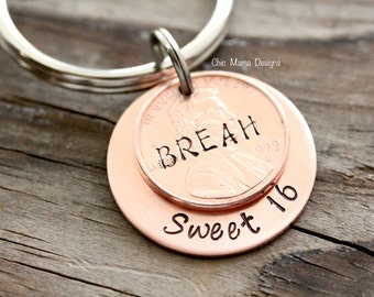 Lucky US Copper Penny Keychain for Birthday, Best Friend, Loved One, Copper Anniversary, Sweet 16 Lucky Penny Keychain Gift For Her
