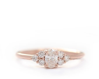 Oval Diamond And Three Diamond 14K Rose Gold Engagement Ring,Diamonds Simple Wedding Ring,Simple Engagement Ring