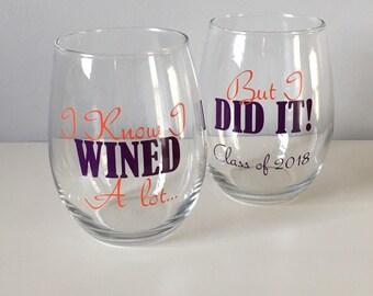 Grad School Graduation Gift, Graduation Gift, Personalized Wine Glass, Graduation Wine Glass, Graduation Gift, Class of 2017, Sorority Gift