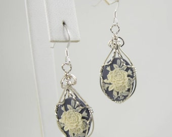 WSE-0027 Flower Cameo Earring Wire Wrapped in Sterling Silver Wire