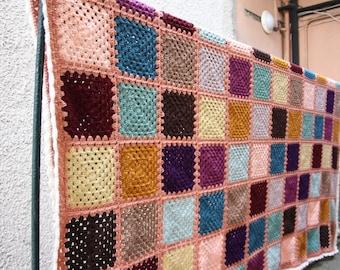 Granny square style 70's crochet blanket