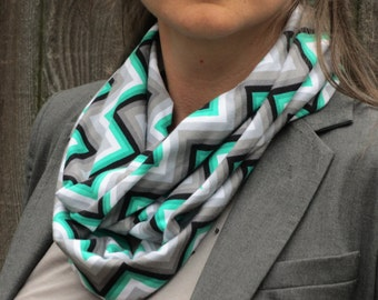 Gray scarf chevron infinity scarf zig zag scarf Infinity scarf gray green emerald scarf - snood scarf - circle scarf loop scarf gift for her
