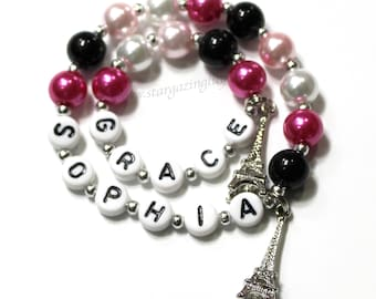 Girl and Doll Matching Name Bracelets Me & My Doll Personalized Name bracelet set. Glass Pearl Charm Bracelets AG Am Girl 18 inch size Grace