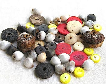 set wooden beads, coconut and seeds.