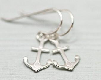 Sterling silver earrings -anchor earrings - nautical earrings - anchor jewelry - minimalist earrings - simple silver earrings - beauty