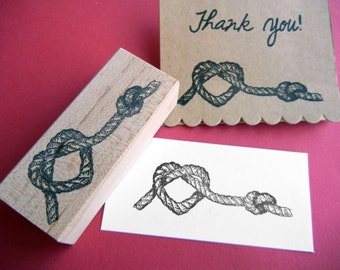 Rope Heart Tie the Knot Wedding Rubber Stamp -  Weddings, Save the Dates, Valentines - by Blossom Stamps