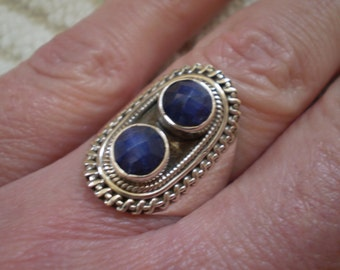 Sapphire (Natural) 925 Antiqued Sterling Silver Ring Size 6.25
