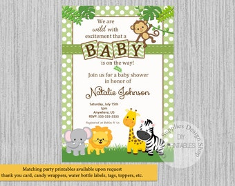 Baby Safari Jungle Animals Baby Shower Invitations, Jungle Baby Shower Invitations, Green Polka Dots Invitations, Safari Digital Invitations