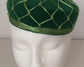 Miss Sally Victor Vintage Green Web Velour Pill Box Hat