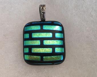 Subway Tile Dichroic Glass Pendant