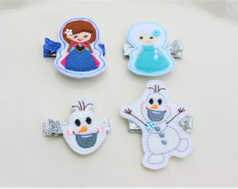 My Favorite Frosted Friends Clippie, Your Choice of a Frozen Themed Hair Clip