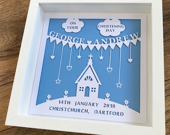 Personalised Christening Gift, Christening Paper Cut in Frame