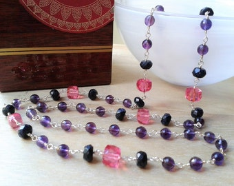 Amethyst long sterling silver necklace