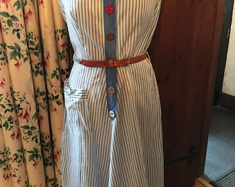 Blue and white ticking stripe dress 1960s