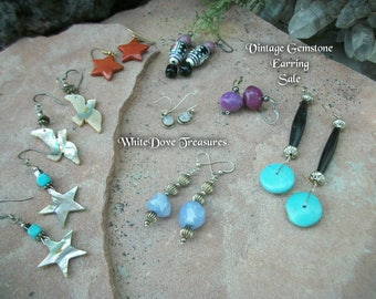 SALE Vintage Gemstone Earrings ~ Choice ~ Moonstone Sugilite Chalcedony Turquoise Abalone ~ Stars Seagulls Beads