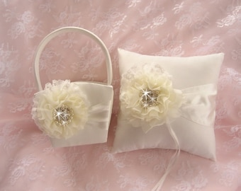 Cream Flower Girl Basket Set  ..  Ivory Wedding Ring Pillow ..Beach Wedding Ivory and Cream Custom Colors too