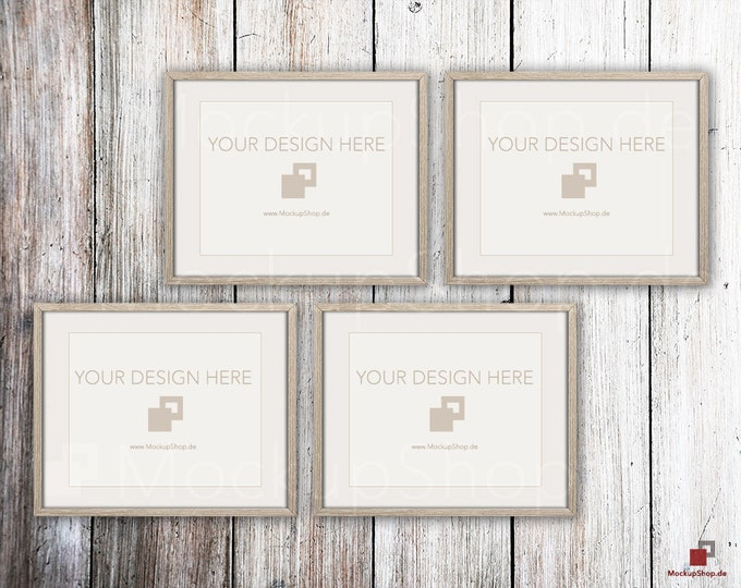 "FRAME MOCKUP BROWN, 8x10"", 4x horizontal & vertical brown Mockup, picture frame mockup in brown on white vintage wood"