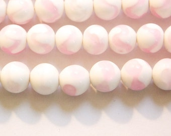 Vintage Opaque White with Pink Glass Beads Japan 8- 9mm (6) jpn005F