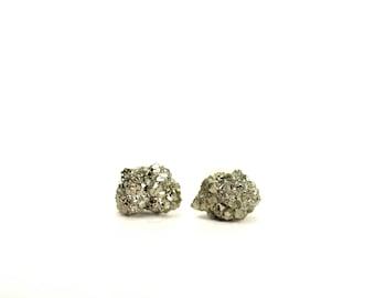 Crystal earrings - rough and raw pyrite earrings - pyrite earrings - rock studs - fools gold - pyrite studs - raw crystal earrings