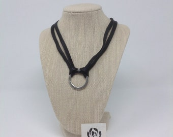 Beautiful Black Leather and Silver Circle Necklace ties in the back-with pearl beads on the ends-Would be a wonderful gift