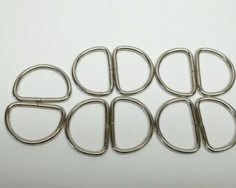 10 - 1 inch up cycled metal d-rings,metal d-rings,d-rings,non welded d-rings,sewing,purse making,crafting,costume making,