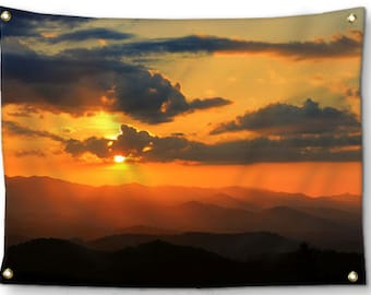 MountainTapestry-Sunset Tapestry-Appalachian Mountains-Sky Tapestry-Canvas Wall Hanging-Orange Wall Decor-Fine Art Tapestry-Outdoor Tapestry