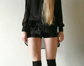 High waisted black crushed velvet shorts