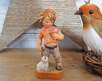 Vintage Wood Carving Oberammergau Figure Boy with Ice Cream Cone & Dog Hand Carved Colored Figurine (Holzschnitzerei) Germany