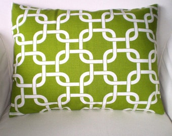 Green Lumbar Pillow Cover, Decorative Throw Pillow, Cushions, Lime Green White Gotcha, Geometric Pillow, Couch Pillow One 12 x 16 or 12 x 18