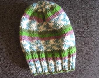 hand knit baby hat -  12 - 18 months